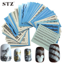 STZ 50pcs Nail Art Lace Designs Black/White Water Transfer Decals DIY Full Wraps Tools Nail Sticker for Manicure Salon NC180