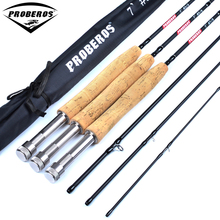 1PC High Carbon Fly Fishing Rod 7FT 2.1M 4 Section Line wt 3/4 5/6 7/8 Soft Wooden Handle Fly Rod Fishing Tackle