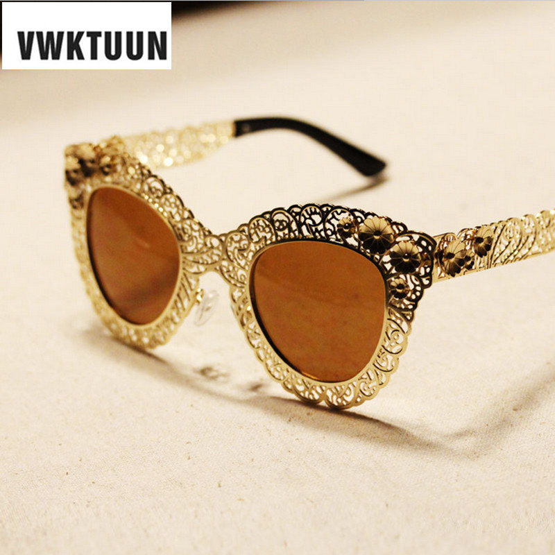 VWKTUUN Cat Eye Women Sunglasses Vintage Hollow Frame Sun Glasses Gold Mirror Glasses Oversized Sunglass Female Sport Eyewear<br><br>Aliexpress
