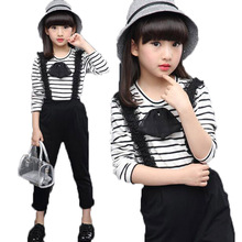 2017 New Spring Autumn Children Girls Clothing Sets Fashion Clothes Striped Tops T Shirt + Bib Pants Kids Girls 2 Pcs Suit