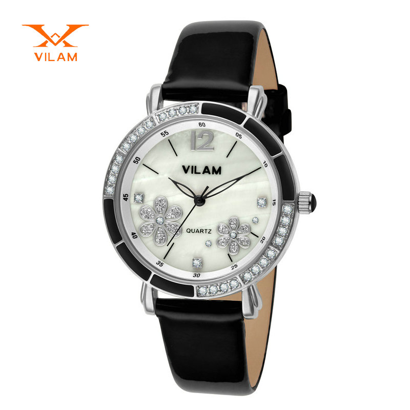 Vilam luxury women fashion watch 2017 smart watch black ladies watch small flower crystal watch golden quartz luxury watch V1026<br>