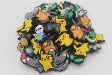 60Pcs PVC Pokemon Pikachu Shoe accessories Shoe Charms Shoe Decorations for Croc Bracelet Wristband Kid Gift(China)