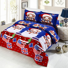 4pcs Cotton 3D Bedding Set Printed Cartoon Santa Claus Comfort Bedclothes Duvet Quilt Cover Bed Sheet 2 Pillowcases for Chrismas(China)