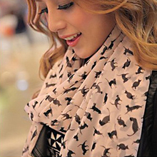 2017 Fashion Women's Chiffon Scarf Cute Cat Print Scarves Sweet Kitten Scarf Autumn Warm Long Scarf  Soft Wrap Shawl Ladies Gift
