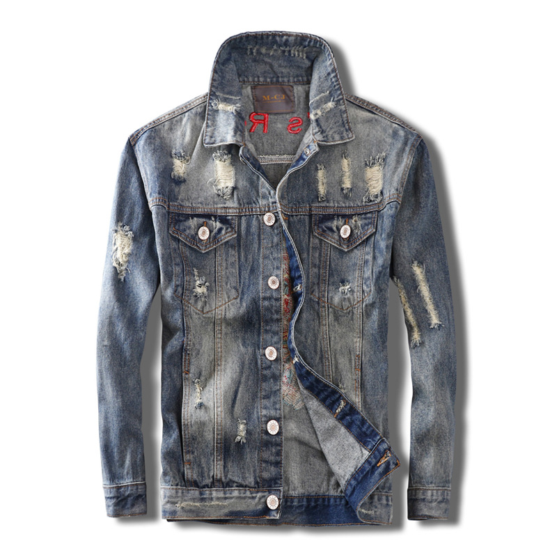 ABOORUN Hi Street Mens Fashion Denim Jackets Skull Embroidery Ripped Jeans Coat Spring Autumn Coat Streetwear for Male x1342