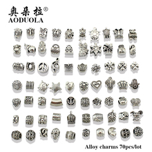 AODUOLA Wholesale 70pcs/Lot Mix Style Antique Silver Color Alloy Big Hole Charms Beads Diy bracelet & bangles DIY jewelry(China)
