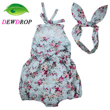 (DEWDROP) Rose Floral Printed Baby Romper ,Vintage Baby Girls playsuit ,Lace Floral printes Baby Swag Rompers baby girl clothes(China)