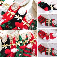 Xmas Gift 1 Pair Christmas Woman Men Warm Soft Winter Cozy Socks New Year Gift