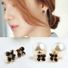2016 Hot 1 Pair Black White Daisy Flower Double Side Pearl Earrings Fine Jewelry Ear Studs Gift For Women Girls
