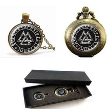 Fashion Norse Viking Cross in Rune Circle Pendant Necklace Glass Cabochon Black Statement pocket watch with free box