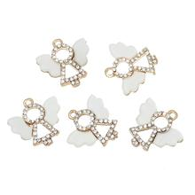 "DoreenBeads Charm Pendants Angel Gold color White Resin Embellishments Clear Rhinestone 18mm( 6/8"") x 18mm( 6/8""), 5 PCs(China)"