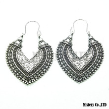 Antique Silver Color Carved Heart Vintage Ethnic Drop Dangle Earrings Wholesale Jewelry Jewellery Gift For Women Girls