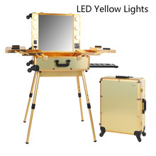 Gold LED Yellow Lights Professional Makeup Artist Station Box Makeup Train Case with Lights legs Beauty cosmetic Box 2016 New