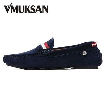 VMUKSAN Holgazanes de Los Hombres de Gran Tamaño 39-47 de Gamuza Vino de Deslizamiento En Los Zapatos Casuales Para Hombre Mocasines de Cuero de Verano Penny Holgazanes