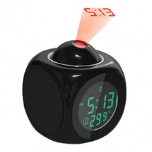Novelty Time Temp LCD Display Voice Time Teller Snooze Projection Alarm Clock