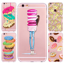 New Ice cream Donuts Macaron Pattern Case Cover For iphone 6 6S Cute Girl Dress Transparent Silicone Moblie Phone Bag Protective