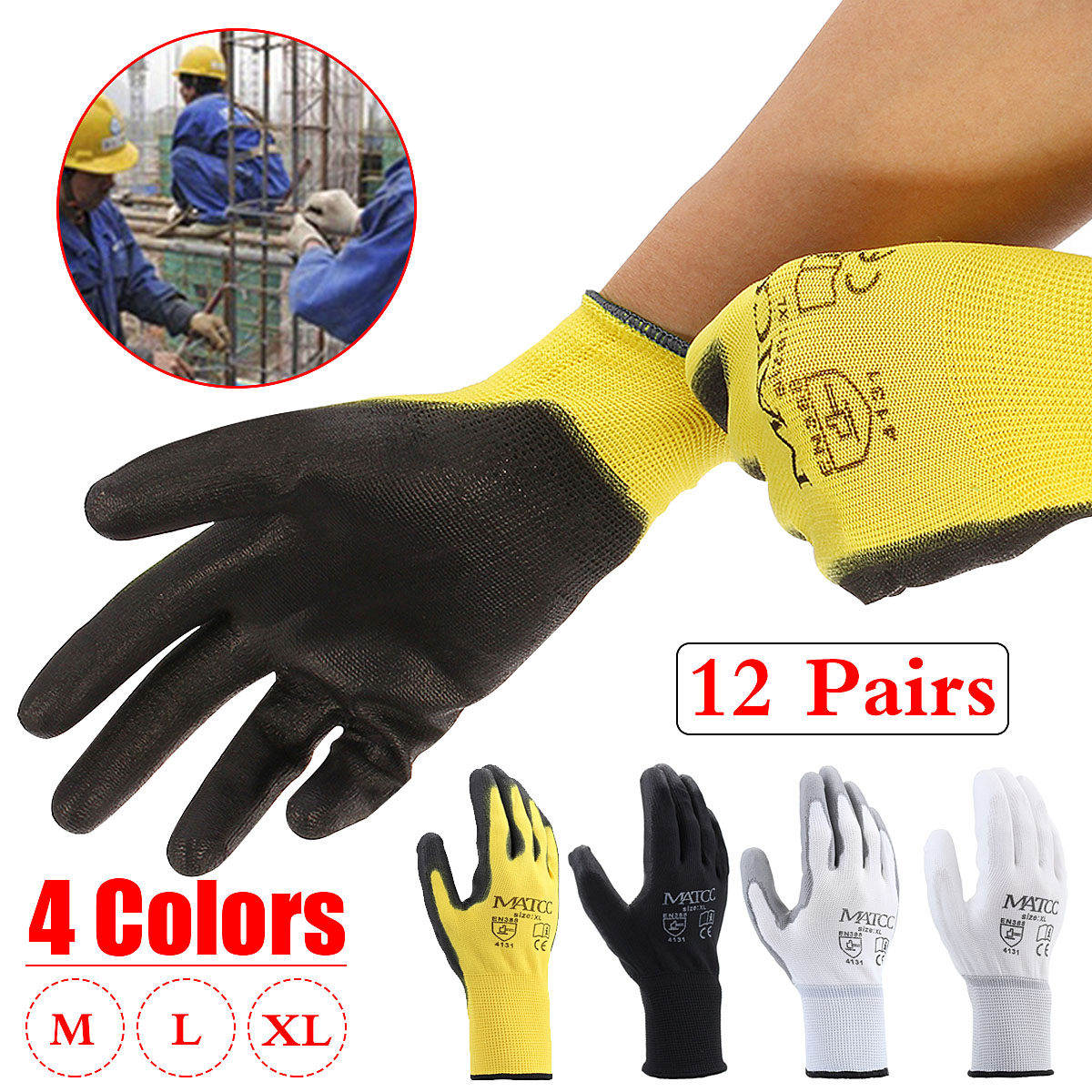 1 12 or 24 PAIRS BLACK NYLON PU COATED SAFETY WORK GLOVES GARDEN GRIP BUILDERS