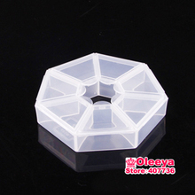 5pcs/lot 7 Grid Plastic Jewelry Boxes Acrylic Cosmetic Case Nail Art Pill Box Portable Storage Container Rhinestones Box Y2687