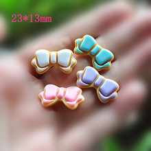 10pcs/Lot Hot Sale DIY Bow Resin Flat back Cabochon Cute Botoes De Resin Cora DIY Star Resin For Phone Decoration(China)