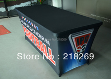 Exhibition Custom printed 8ft spandex table covers (with print your logo) / Company logo printing table throw