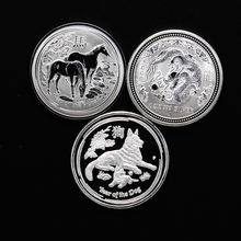 3 pcs/lot Australia Zodiac Silver Plated 1 Oz troy Ounce Coins Year of Horse Dragon 2018 Dog Coins Set Collection(China)