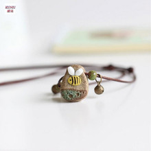 KUNIU 2pcs Jingdezhen ceramic jewelry national wind act the role ofing is tasted The bee necklace hand knead for women