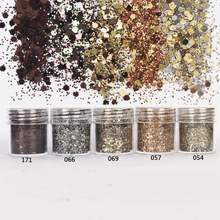 5box 10ml Coffee Colors Mix Nail Glitter Powder 1mm Sequins Sheets Tips Dust Powder For Body Eyeshadow Nail Art Decoration 2017