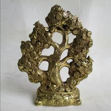 Wedding Decorations/Art Collection Chinese Brass Carved Christmas tree/Home Decoration Feng Shui Metal Money tree Sculpture(China)