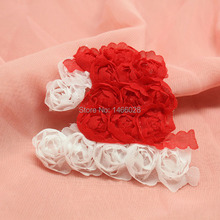 120 pcs/lot , kids hair accessories christmas shabby flowers  chiffon tree ,  headband chiffon flowers