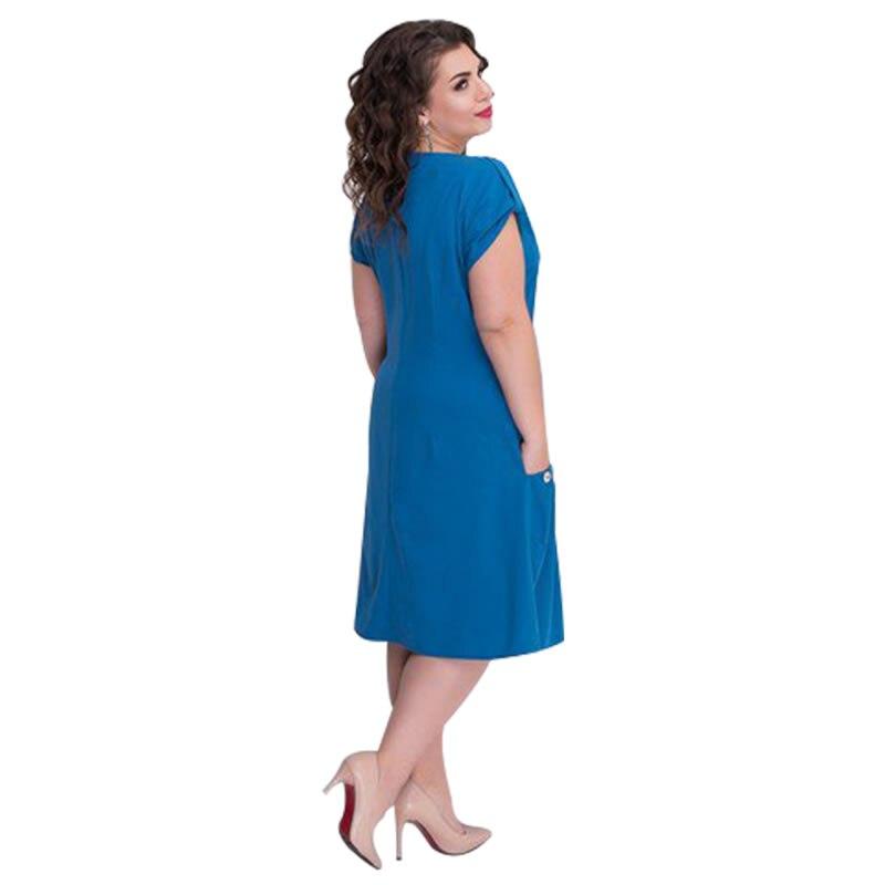 Loose Beach Dress Casual Summer Dress With Big Pockets Plus Size Women  Dress Short Sleeve Blue Dress 5XL 6XL Vestidos 2018  52fddef303f7