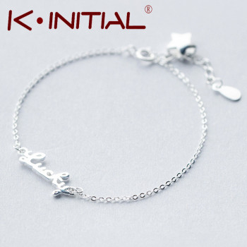 Kinitial 1Pcs Fashion Initial Lucky Jewelry New Cuff Bracelet 925 Silver Charm Bracelets Bangles Lucky Bracelet For Woman Gift
