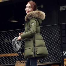 2017 winter new cotton coat long hair collar long feather cotton  female Slim was large size cotton jacket parkas  A515