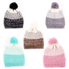 New Arrival Baby Kids Children Warm Winter Wool Knit Beanie Pompom Ball Hat Crochet Ski Cap
