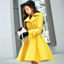 lager size women clothing Free shopping Autumn and winter new Korean Slim woolen coat  / S-3XL