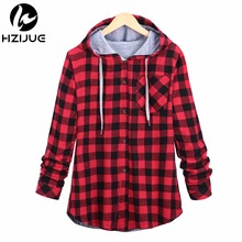 HZIJUE Fashion Women Hoodies Cotton Autumn Winter Coat Long Sleeve Plaid cotton Hoodies Casual button hooded Sweatshirt Oversize(China)