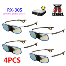 4pcs 3D glasses Active shutter rechargeable with Clip for Myope For BenQ W1070 Optoma Acer DLP   3D Emitter Projector Glasses