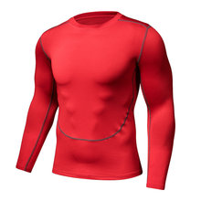 Tights male two generation red clothing fitness movement fast dry long sleeved T-shirt bottoming compression(China)