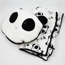 Cute 30x30cm Panda Plush Toys Stuffed Panda Dolls Soft Pillows and 90x75cm Blanket kids toys(China)