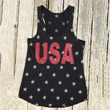 Women's Black Tank Tops Summer USA Letter Printed Stars Printing Female Top Tees O-Neck Sleeveless Casual Fashion Simple Leisure
