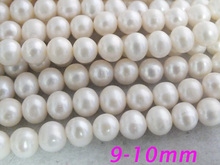 FREE SHIPPING !!! Z-3413 Bulk 10Strands 9-10mm White Freshwater pearl Round Pearl Jewelry Making(China)