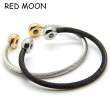 New Arrivals Black / Gold Stainless Steel Bracelets Bangles Smooth Steel Twisted Wire Bracelet Germanium Accessories For Women(China)