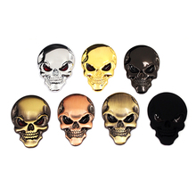 7 colors 3D Cool Car styling Metal Skull Skeleton Devil Chrome Auto Emblem Badge Decal Motorcycle Stickers Accessories - Cyberday Parts Co.,Ltd. store