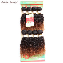 8inch Ombre Blonde curly Synthetic Weave Bundles Short Sew in Hair Extensions for Black Women Goden Beauty 8pcs/pack