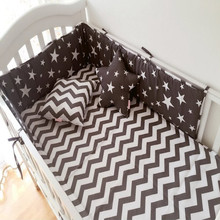 Buy 1PCS Baby Crib Cotton Bumpers Crib Newborn Cotton Linen Cot Bumper Baby Bed Protector Grey Stars Print Kids Bedding for $17.64 in AliExpress store