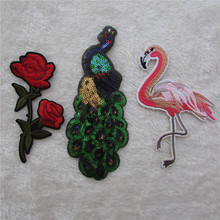 peacock flamingo flower fashion Delicate Fashion Embroidery Iron On Patches Beauty Badges Letters Birds Sugar Car Motif Applique(China)