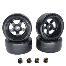 4 Pieces  Smooth Plastic RC Drift Tires & Wheels Rims 12mm Hub Hex For HSP HPI Tamiya 1/10