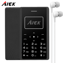 AIEK X7 Ultra Thin Card Mobile Phone Cellular phone Low Radiation mini Telephone pocket students personality children Smartphone(China)