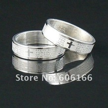 6mm Silver Tone Etched Spanish Bible Lord's Prayer Cross Ring Stainless Steel Rings Fashion Religious Jewelry(China)
