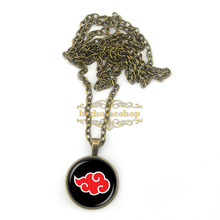 BS0132 Naruto Akatsuki Red Cloud pendant necklace,art pendant,Glass dome cabochon Necklaces & Pendants