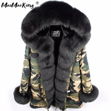 MAO MAO KONG Camouflage winter jacket women outwear thick parkas natural real fox fur collar coat(China)